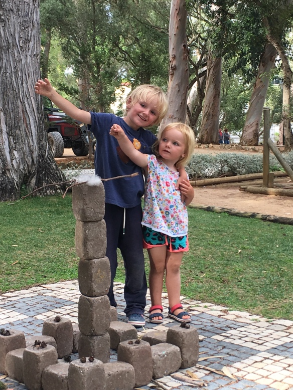 Hector and Phoebe in a park in Cascais, Portugal